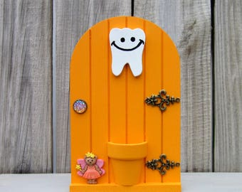 Tooth Holder, Tooth Fairy, Orange, Fairy Door, Money Holder, Kids Gift, Lost Tooth, Painted Wood, Childs Tooth, Loose Tooth