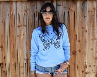 Vintage 80s BUTTERFLY Pullover Sweatshirt M
