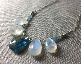 Rainbow Moonstone and Kyanite Necklace in in Sterling Silver
