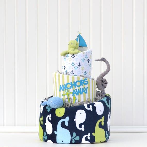 Nautical Diaper Cake, Nautical Baby Shower, Under the Sea Diaper Cake, Whale Baby Shower, Anchors Away Shower, Ahoy Its a Boy Baby Shower,
