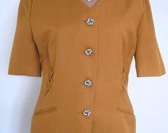 1980s Fashion, Vintage Jacques Vert Jacket, Vintage Jacket, Vintage Clothing, Single Breasted, Mustard Blazer, Retro Garment, Short Sleeved