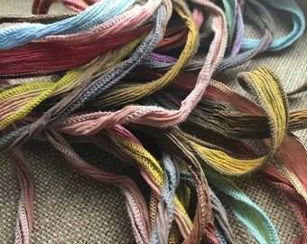DESTASH, LOT of RIBBONS, Silk Ribbons hand dyed, silk ribbons, silk, ribbon, hand dyed,