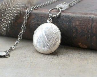 VACATION SALE Round Locket Necklace, Round Silver Locket, April Birthstone Locket, Sterling Silver Locket Pendant Oxidize Silver Jewelry Pus