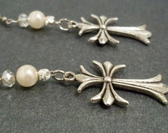 One of a Kind Oxidized Sterling Silver, Creamy White Cultured Pearl and Clear Crystal Dangling Earrings