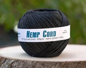 Hemp Cord 1mm, Black Hemp, 430 Feet Ball,  Hemp  Twine, Dyed Hemp, Black Hemp String  -T73