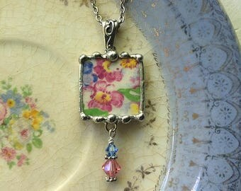 Antique porcelain - English chintz - antique apple blossom chintz - broken china jewelry pendant necklace - china pendant