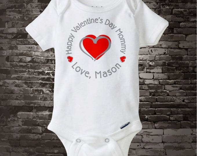 Boy's Happy Valentine's Day Mommy Onesie Bodysuit or Tee Shirt, Personalized with your child's name 12292014d