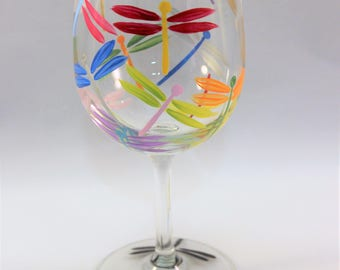 Multi-colored dragonfly wine glass - hand painted wine glass - colorful wine glass - single glass on SALE