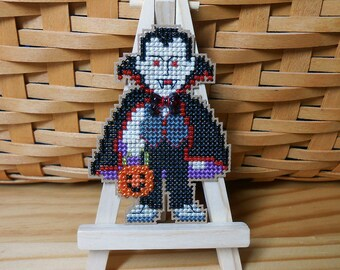 Dracula Cross Stitched and Beaded Halloween Ornament, Magnet, or Pin - Free U.S. Shipping