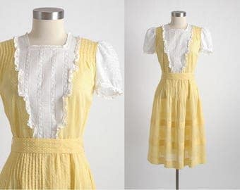 1930s 40s vintage yellow swiss dot dress with embroidered organdy * 5S951