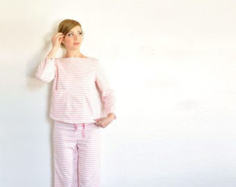 pink gingham mid century pajamas . two piece matching pj set . sweetest dreams .small.medium .sale