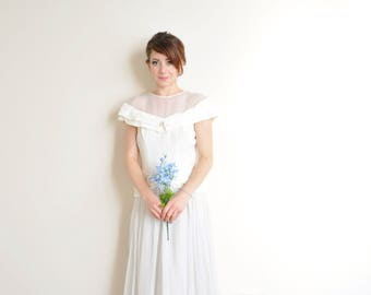 1930 sheer illusion wedding gown . structured gossamer crepe bridal dress .medium .sale