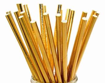 Gold Foil Paper Straws, Gold Straws, Gold Foil Straws, Gold Foil Decor, Bachelorette Party Decor, Gold Foil Bridal Shower, Gold Straws,