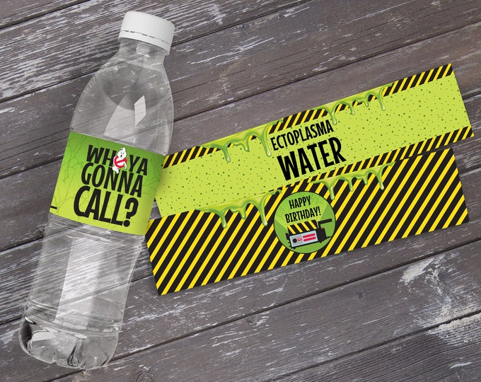 Ghost-buster Party Water Bottle Wraps, Ghost-buster Birthday Party, 5 Different Bottle Wrap | INSTANT DOWNLOAD Editable text PDF Printable