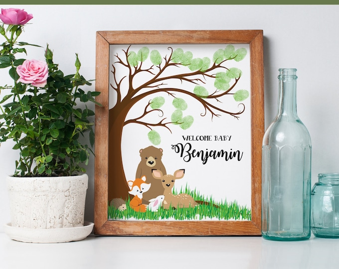 Thumbprint Guestbook Printable - Woodland Baby Shower - Fingerprint Sign In, Thumbprint Tree | INSTANT Download DIY Printable PDF Kit