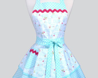 Womens Ruffled Retro Apron - Aqua Bird Cages Womans Vintage Style Pinup Kitchen Apron with Pocket to Personalize or Monogram