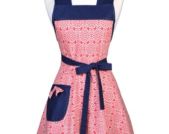 50s Style Retro Apron / Amy Butler Red Wallflower Damask Womans Vintage Inspired Cute Kitchen Apron to Monogram Embroidery (FM)