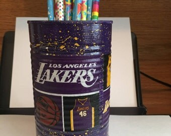BASKETBALL PENCIL HOLDER KBK114/Pencils/Pens/Markers/Crayons/Desk Organizer/Money/Candy/Gift Holder (Los Angeles Lakers Fabric)