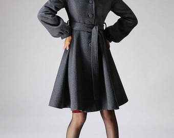 hooded coat, swing coat, winter wool coat, gray coat, A-Line Shape coat, midi length coat with lantern sleeves, tie belt coat, gift  (1073)
