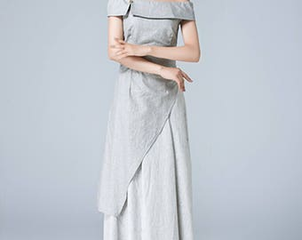 gray dress, linen dress, off shoulder dress, romantic dress, maxi dress, ladies dresses, party dress, layered dress, handmade dress  1778