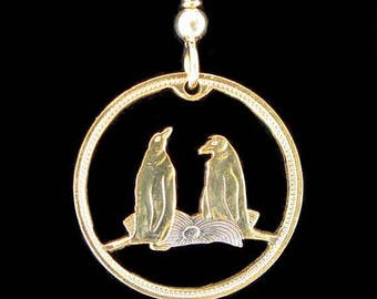 Cut Coin Jewelry - Earrings - Falkland Islands - Penguins