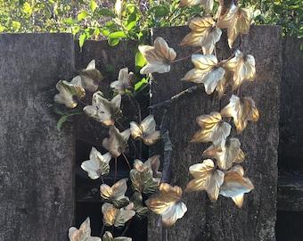 Vintage Metallic Gold Maple Leaves Branch Pair