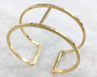 Large Gold Plated Cuff | Modern & Minimal | Statement Piece