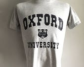Vintage Men's 80's Oxford University, T Shirt, Grey, Navy Blue, Short Sleeve (S)