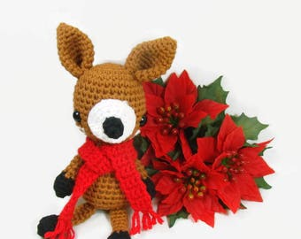 Christmas Deer Crochet Toy, Deer Stuffed Animal, Christmas Deer Decor, Crochet Baby Deer, Crochet Fawn, Woodland Amigurumi Deer, Forest Deer