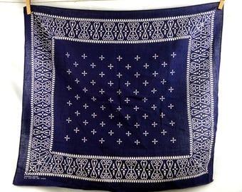 Vintage Blue Washfast Geometric Cotton Bandana - #D2