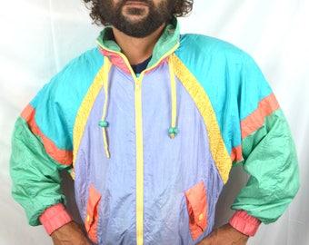Vintage 90s Rainbow Pastel Pink Jacket Windbreaker - Pro Spirit