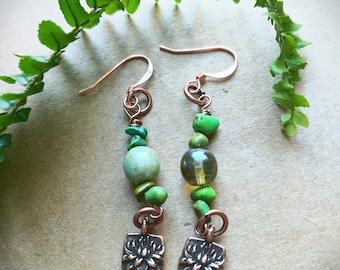 Copper lotus dangle earrings!