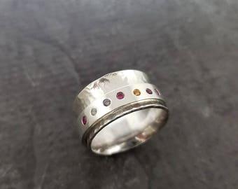 Birthstone Spinner Ring - Sterling Silver Flush Set Gemstone Ring - Mothers Ring - Grandmother Ring
