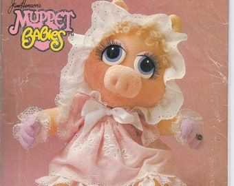Uncut, Muppet Baby Miss Piggy, Vintage Sewing Pattern, Vogue 8967, Doll and Clothes, Jim Henson, 17 Inches, Pinafore, Nightgown, Child Toy