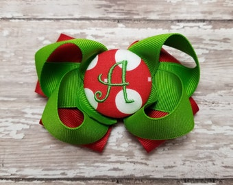 """Initial letter """"A"""" monogram hair bow You choose the color"""
