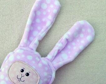 Bunny Pillow Plush - Polka Dot Bunny - Minky Bunny - OOAK Bunny - Stuffed Bunny Rabbit - Woodland Rabbit - Bunny Nursery - Pink Bunny Friend
