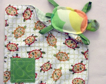 Turtle Rattle - Baby Travel Toy - Crackle Toy - Turtle Blanket - Babywearing Keepsake - Security Toy - Lovie Lovey Turtle - Wrap Scrap Toy