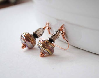 Smoky Quartz Earrings, Golden Earrings, Lampwork Earrings, Simple Modern Earrings, Faceted Earrings, Brown Earrings