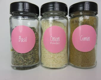 Hot Pink Spice Jar Labels 80 in Set!
