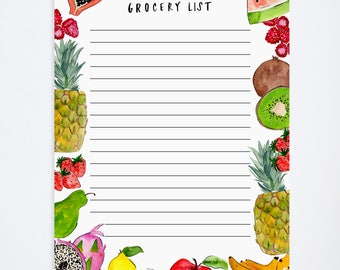 Grocery List Notepad - Watercolor Painted Fruits - Home Kitchen Accessories - 5.5' x 8.5'