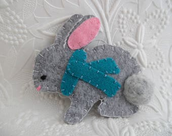 Winter Bunny Brooch Pin Gray Teal Wool Felt Scarf Stocking Hat
