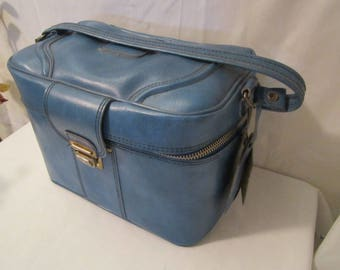 Train Case, Cosmetic Traveling Case, Blue Carry-on Luggage, Blue Train Case
