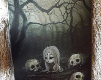 """The Human Garden lowbrow gothic art Original Acrylic painting  -16"""" by 20"""""""