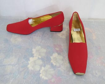 Timothy Hitsman onworn Fabric, leather and gold metal pumps size 8.5 M