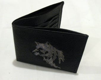 Brown leather wallet, man's leather wallet, leather wallet, bi-fold wallet,  2-bill pockets, 7- 9 card pockets, wolf head embroidery