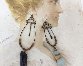 hipster~upcycled beaded boho earrings, aquamarine, gemstones, repurposed beads, hoops, hippie, gypsy, assemblage, boho chic, rustic jewelry