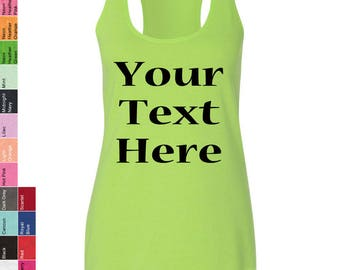 Custom Made Next Level - Ladies' Terry Racerback Tank 6933 Glitter or Vinyl Print Customized Tank Top