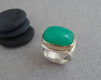 RESERVED - Chrysoprase Ring in 18k Gold and Sterling, Cushion Cut Green Gemstone Ring