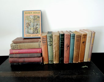 Books by the Foot Rustic Book Collection - Mixed Worn Brick Clay Green Blue Books for Decor - Vintage Home Staging Retail Prop