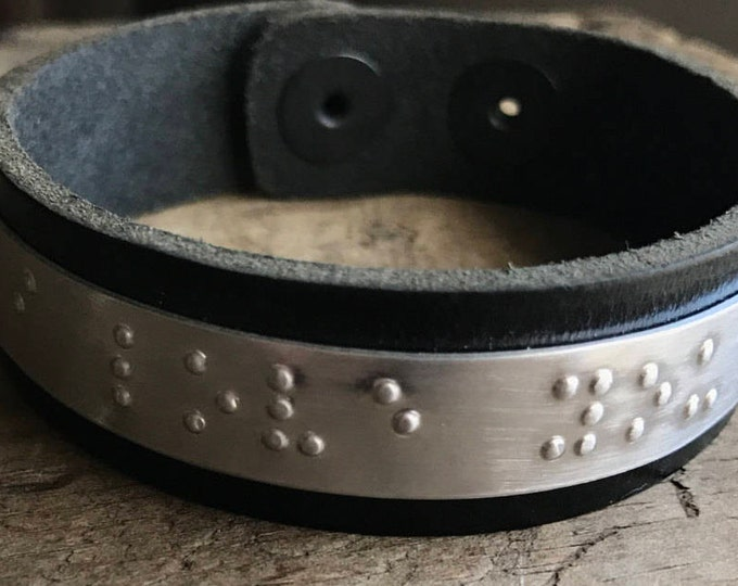 Personalized Braille Bracelet Personalized Unisex Leather Bracelet Custom Braille Message